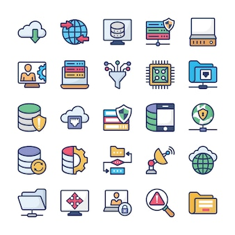 Network hosting flat icons set