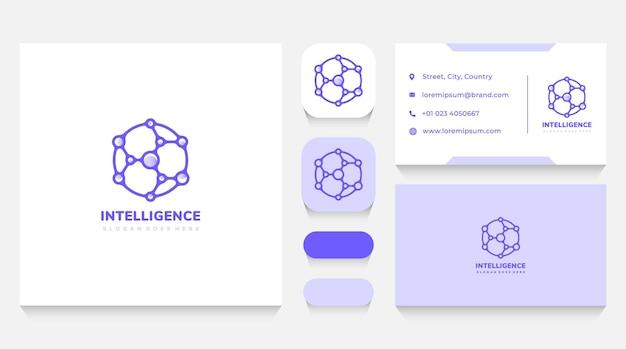 Шаблон логотипа network intelligence и визитная карточка