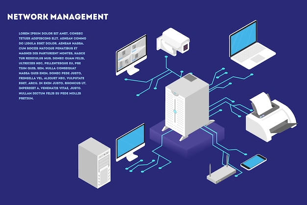 ネットワーク管理の概念。コンピューターサーバーとクラウドデータベース。デバイス間の無線通信。等角投影図