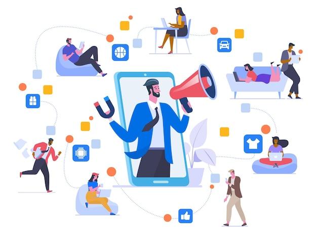 네트워크 마케팅 평면 벡터 일러스트 레이 션. 친구들은 채팅하고, 추천을 공유하고, 서로 상품 만화 캐릭터를 홍보합니다. 소셜 미디어 바이러스성 광고. 입소문 마케팅 방식