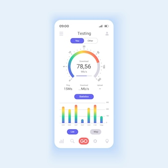 Векторный шаблон интерфейса смартфона сетевого мониторинга