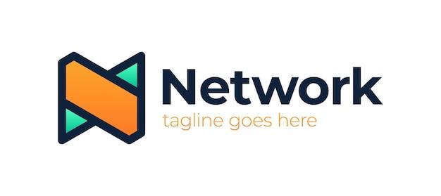 Сеть n логотип простой современный дизайн буквы n. Premium векторы