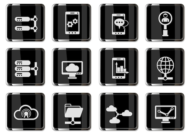블랙 크롬 버튼의 네트워크 픽토그램. 사용자 인터페이스 디자인을 위한 아이콘 세트
