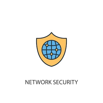 Network security concept 2 colored line icon. simple yellow and blue element illustration. network security concept outline symbol design