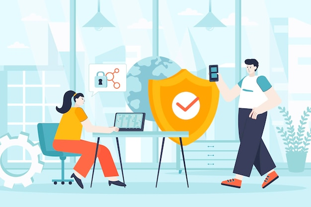 Network security concept in flat design illustration of people characters for landing page