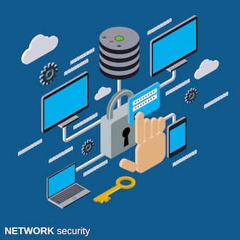 Network security flat isometric vector concept illustration