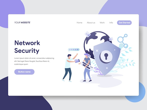 Network security illustration for web pages