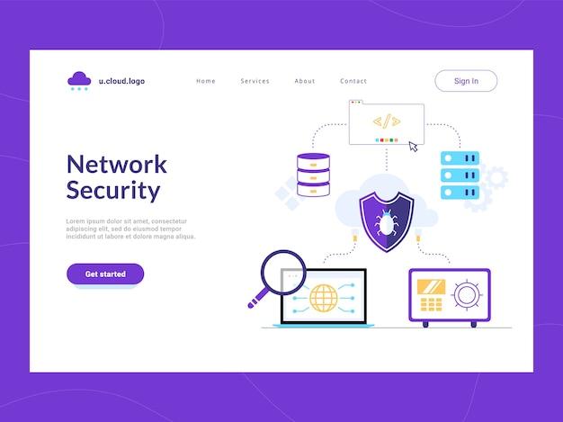 ネットワークセキュリティのランディングページの最初の画面。企業のデータベース、ソフトウェア、職場を潜在的な脆弱性から保護するバグシールド。機密データのリスク軽減とサイバー攻撃防御