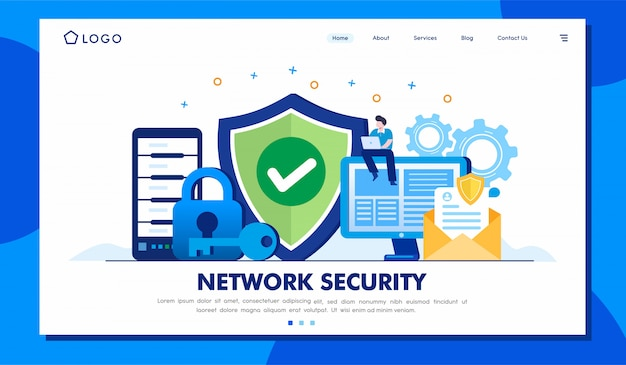 Network security landing page illustration template
