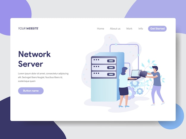 Network server illustration for web pages