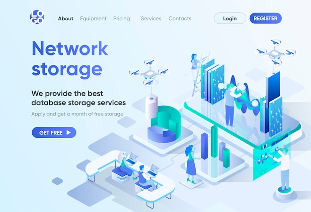 Network storage isometric landing page. database storage service, modern hosting and backup technology. data center template for cms and website builder. isometry scene with people characters.