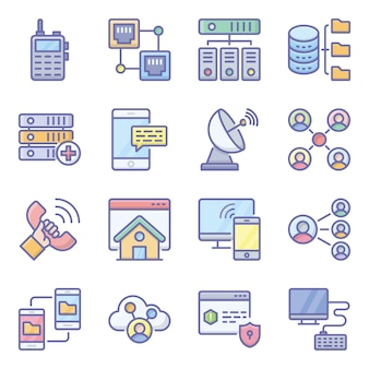 Network technology flat icons pack