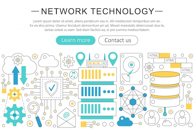Network technology flat line concept