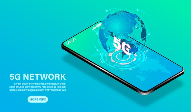 Network technology high speed on mobile  isometric