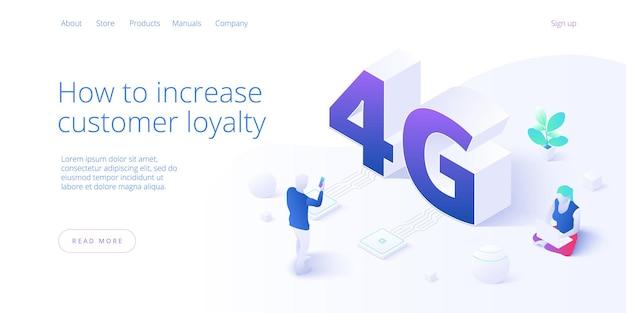 アイソメトリックのネットワーク技術。ワイヤレス移動通信サービスの概念。マーケティングウェブサイトのランディングテンプレート。