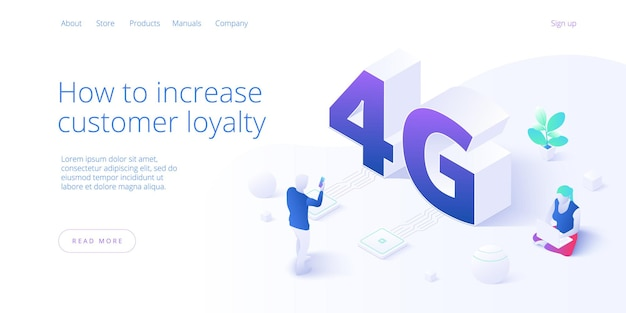 Network technology in isometric. wireless mobile telecommunication service concept. marketing website landing template.