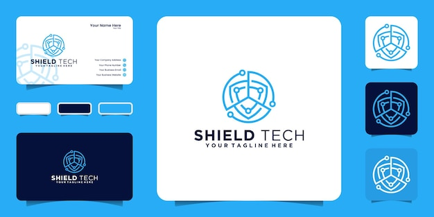Network and technology shield logo design inspiration business card