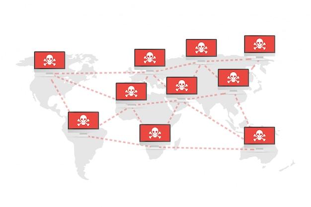 Уязвимость сети - вирус, вредоносные программы, вымогатели, мошенничество, спам, фишинг, хакерская атака. векторная иллюстрация