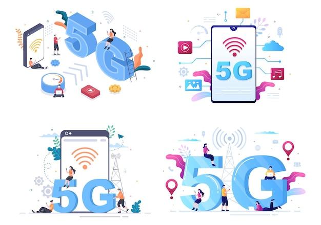 Network wireless technology smartphone vector illustration