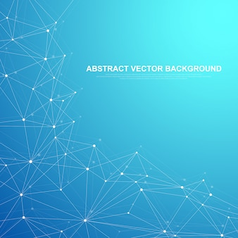 Сетевое соединение технологии абстрактного понятия. глобальные сетевые соединения с фоном точек и линий