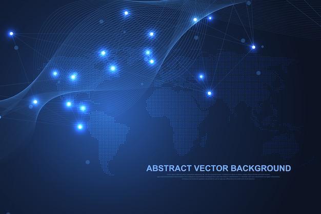 ネットワーク接続の概念の抽象的なテクノロジー。ポイントとラインを使用したグローバルネットワーク接続。ビッグデータの視覚化。未来的なインフォグラフィック。