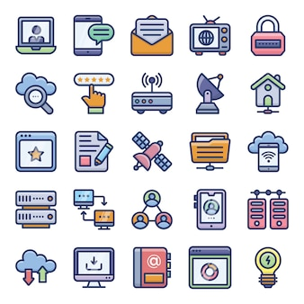 Networking flat icons pack