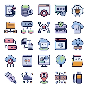 Networking flat icons set