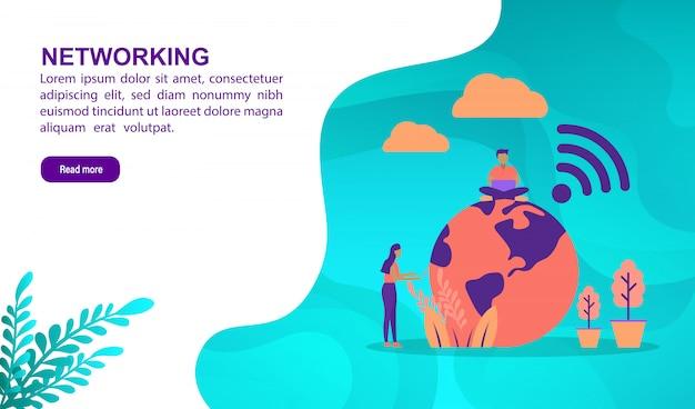 Концепция иллюстрации сети с характером. шаблон целевой страницы Premium векторы