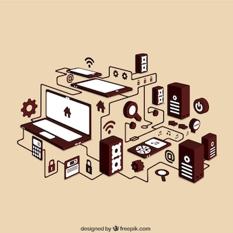 Networking isometric icons