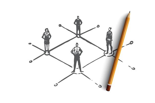 Сети, люди, связь, интернет, социальная концепция. нарисованные рукой люди соединены в эскизе чистой концепции.