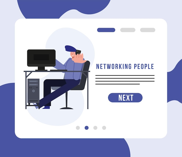 Networking people and man at desk