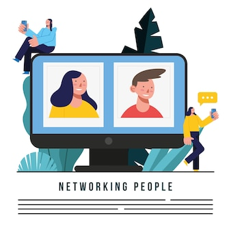 Networking people man and woman in computer design