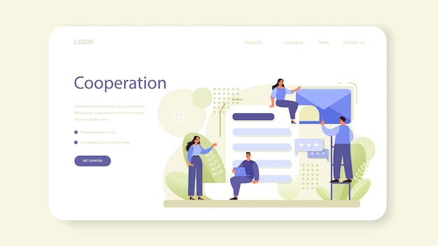 ネットワーキングwebバナーまたはランディングページ。従業員のコラボレーション