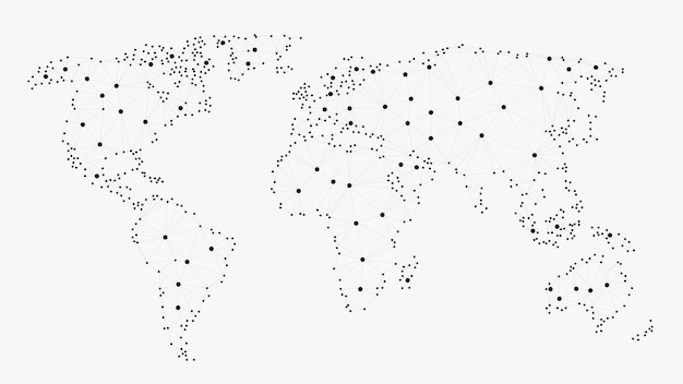 Networking world map, polygonal world map
