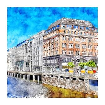 ノイアーウォールハンブルクドイツ水彩スケッチ手描きイラスト