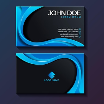 Neumorph business card template with blue details