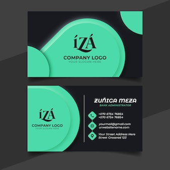 Neumorph business card template with green details