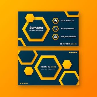 Neumorph business card template with hexagons