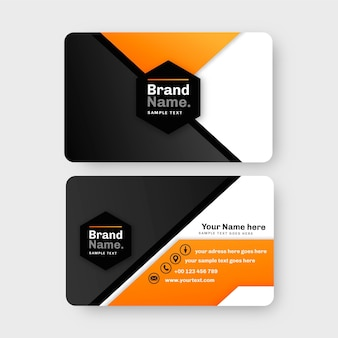 Neumorph business card template with orange details