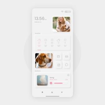 Шаблон домашнего экрана neumorph для смартфона