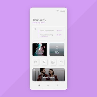 Neumorph home screen template for smartphone
