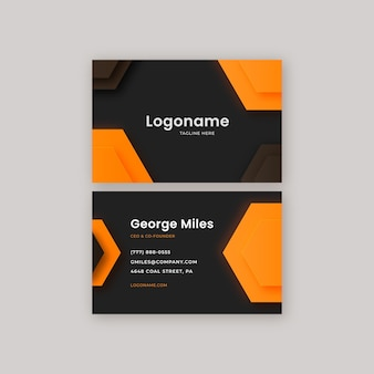 Neumorph orange business card template