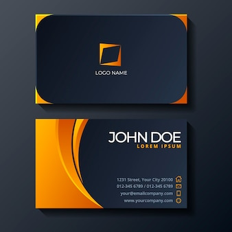 Neumorph yellow details business card template