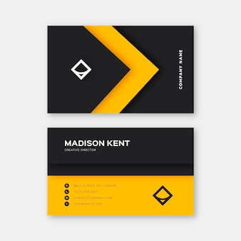Neumorph yellow line business card template