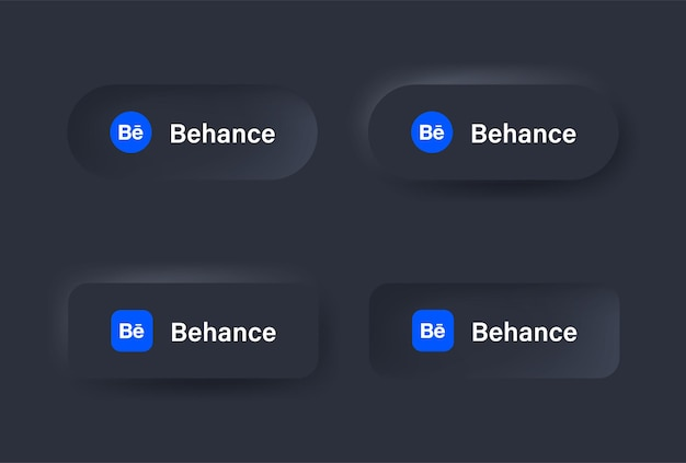 ソーシャルメディアアイコンの黒ボタンのニューモルフィックbehanceロゴアイコンニューモルフィズムボタンのロゴ