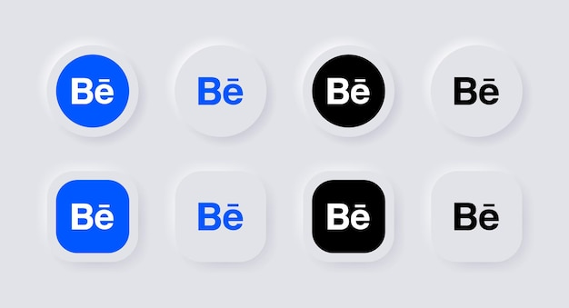 Neumorphic behance logo icon for popular social media icons logos in neumorphism buttons ui ux