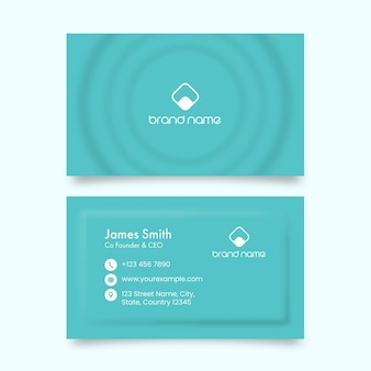 Neumorphic business card template in front and back side.