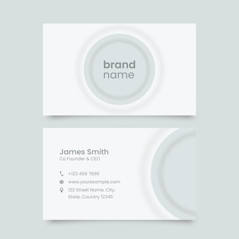Neumorphic business card template in white color.