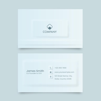 Neumorphic business or visiting card in front and back side.