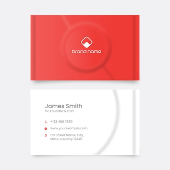 Neumorphic business or visiting card in red and white color.